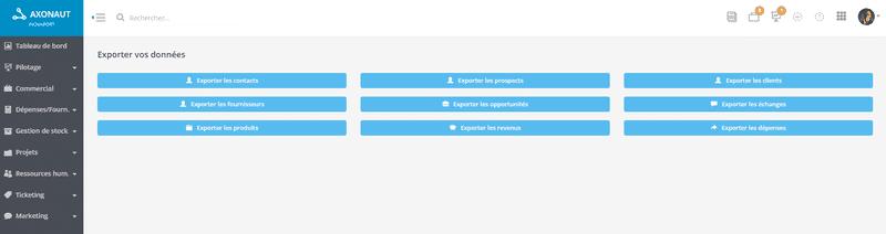 Axonaut vous propose un export complet de vos données