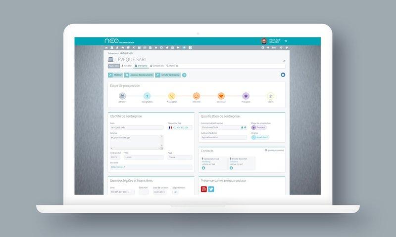 HOP et NEO CRM - Une ergonomie soignée par exemple sur la fiche entreprisee